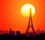 Eiffel tower & Paris at Sunset-Vector