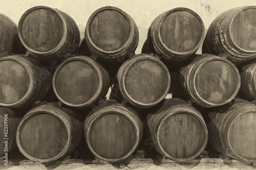 wine barrels in old wine cellar