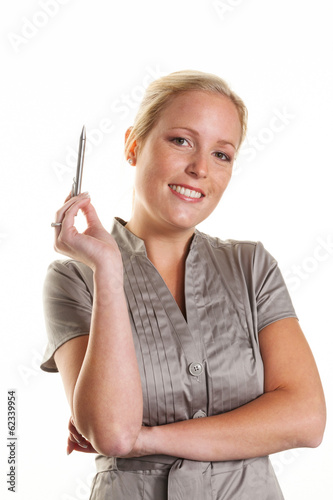 Frau mit Kugelschreiber
