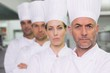 Serious team of chefs looking at the camera