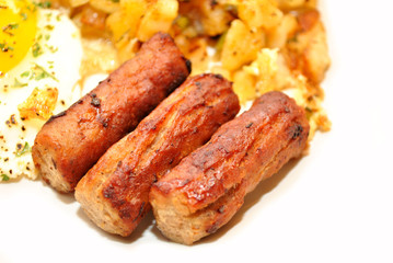 Close-Up of Three Sausage Links Served for Breakfast
