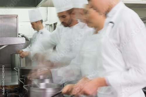 Busy team of chefs at work