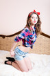 beautiful pinup young woman girl with red lipstick