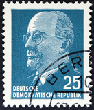 Vintage postage stamp printed in Germany .