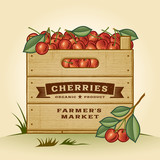 Retro crate of cherries