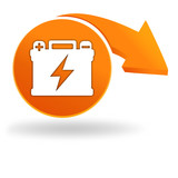 batterie sur bouton orange