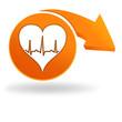 rythme cardiaque sur bouton orange