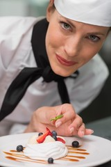 Smiling chef putting mint leaf on meringue dish