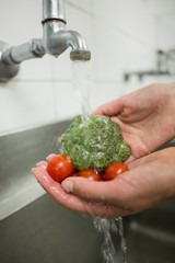 Chef washing broccoli and tomatoes under the tap