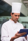 Chef using tablet pc