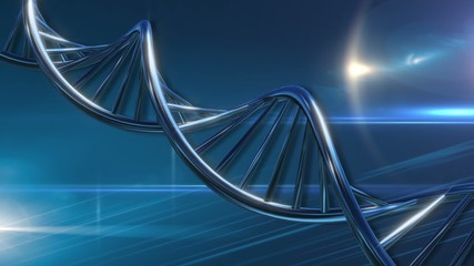 DNA molecular string moving turquoise blue background