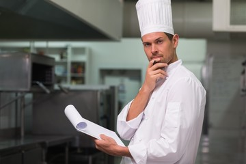 Head chef planning the menu