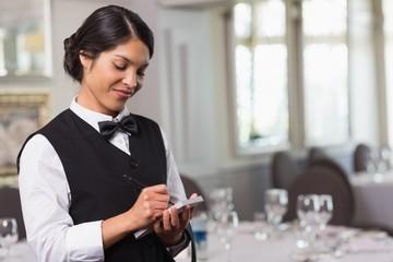 Pretty waitress taking an order