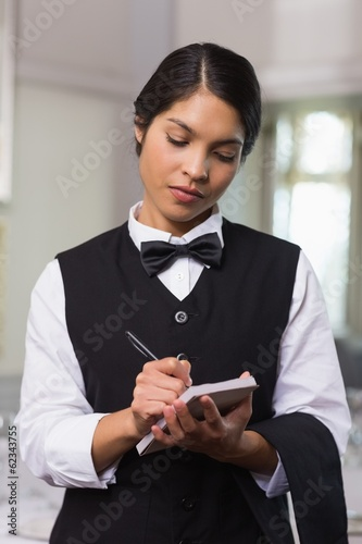 Pretty waitress taking an order