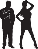 Silhouettes of the man and the woman on a white background