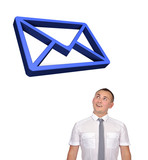 businessman looking at email symbol