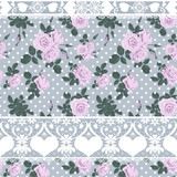 Seamless roses lacy pattern grey