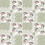 Seamless patchwork pattern with flowers and lace