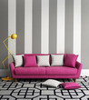 Fresh style, romantic interior living room with pink sofa