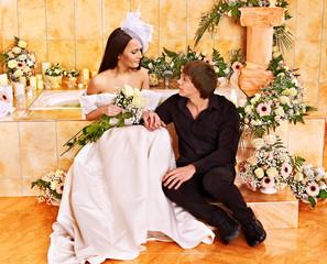 Couple spend wedding night.
