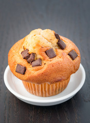 Fresh chocolate chip muffin