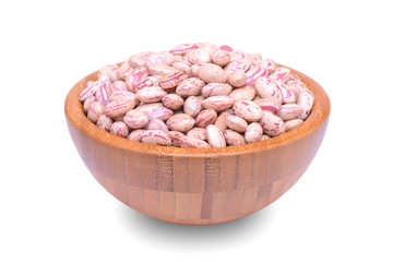 red beans in wood bowl on white