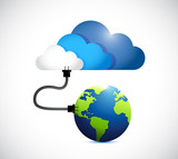 cloud computing connection. globe and cloud