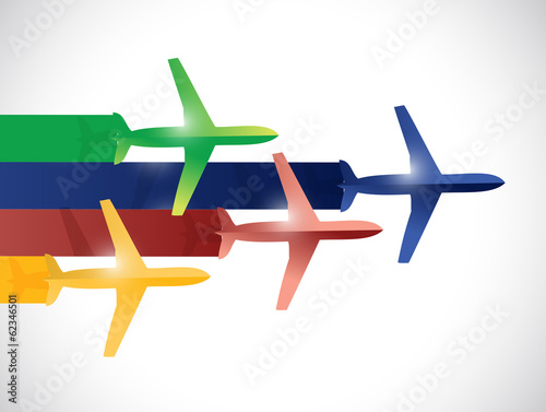 colorful set of planes illustration design