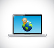 laptop globe and pointer illustration design