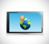 tablet, globe and pointer illustration design