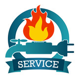 Design for repair service, vector emblem