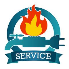 Design for repair service, vector emblem