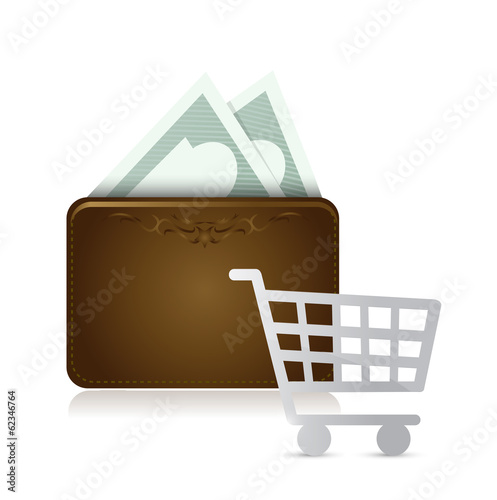 wallet shopping cart illustration design