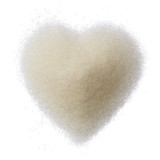 Sugar heart isolated on white background top view