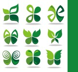 Eco icons green leaves
