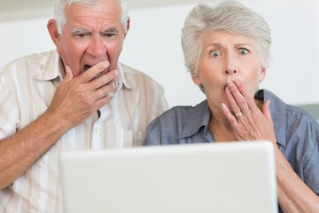 Shocked senior couple using the laptop