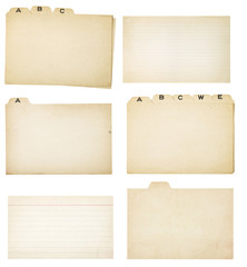 Set of Six Vintage Tabbed Index Cards