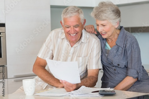 Happy senior couple organising their finances
