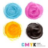 CMYK vector watercolor paint circles.