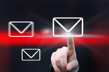 hand pointing at mail icon