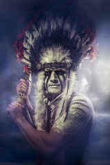 American Indian warrior, chief of the tribe. man with feather he