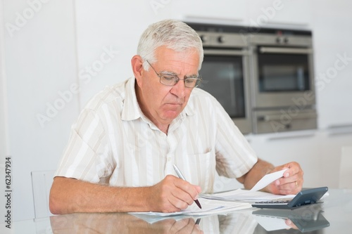 Focused senior man paying his bills