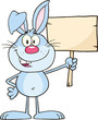 Funny Blue Rabbit Cartoon Character Holding A Wooden Board