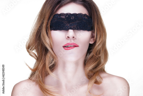 Beautiful Woman in Black Lace