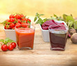 Tomato juice and beet juice