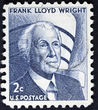 sStamp printed in the USA, shows a Frank Lloyd Wright