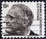 Franklin Delano Roosevelt USA president on a Stamp.