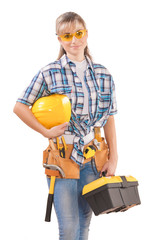 beautiful female wearing working clothes with tools isolated on