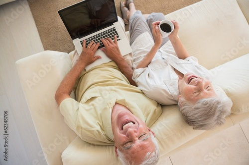 Cheerful senior couple using the laptop together on the couch