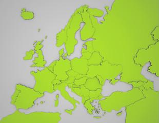Europakarte mit 3D Ländergrenzen in grün